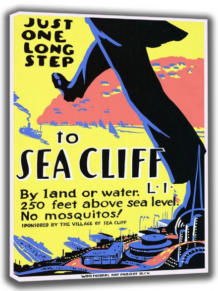 Just One Long Step to Sea Cliff, Long Island, New York. Vintage USA Travel Canvas. Sizes: A4/A3/A2/A1 (002708)